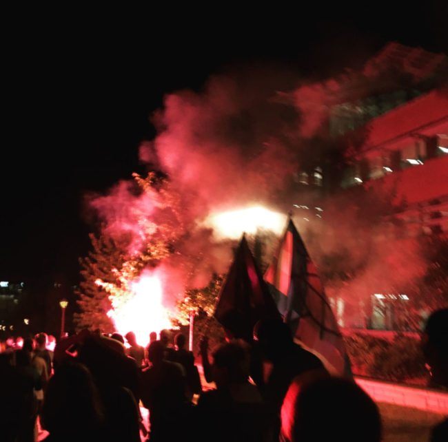 """Over 50 students gathered at the vigil which ended in a """"violent protest"""""""