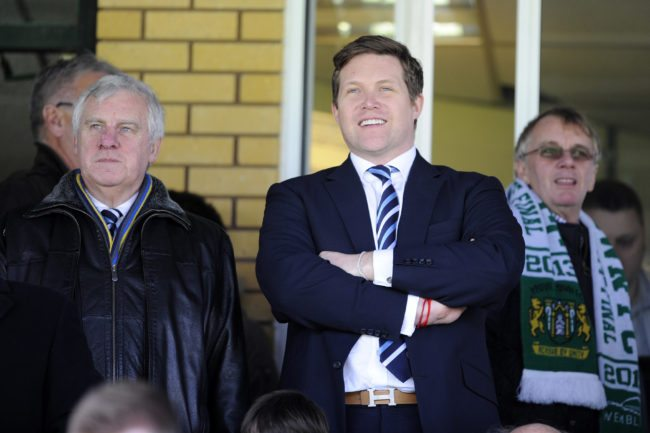 YEOVIL, ENGLAND - FEBRUARY 08: David Haigh, CEO of Leeds United, looks on during the Sky Bet Championship match between Yeovil Town and Leeds United at Huish Park on February 08, 2014 in Yeovil, England. (Photo by Rob Munro/Getty Images)