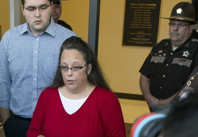 MOREHEAD, KY - SEPTEMBER 14:   Rowan County clerk Kim Davis gives a statement  about  her intentions on applying her signature to same sex marriage licenses on her first day back to work, after being released from jail last week, at the Rowan County Courthouse September 14, 2015 in Morehead, Kentucky. Davis was jailed for disobeying a judges order for denying marriage licenses to gay couples on the basis of her religious faith. (Photo by Ty Wright/Getty Images)