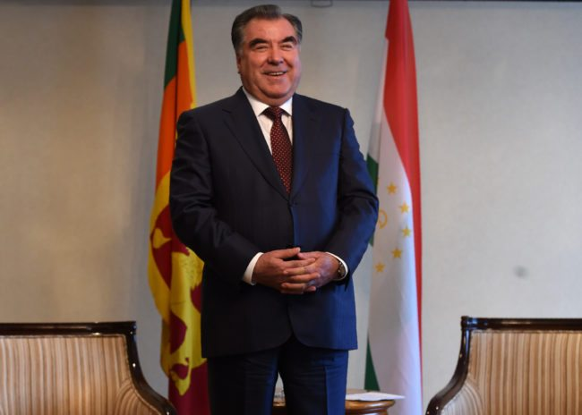 President of Tajikistan Emomali Rahmon looks on ahead of a meeting with Sri Lankas Prime Minister Ranil Wickremesinghe in Colombo on December 13, 2016. Rahmon is on a three day official vist to Sri Lanka. Rahmon is on a three-day official vist to Sri Lanka. / AFP / Ishara S. KODIKARA (Photo credit should read ISHARA S. KODIKARA/AFP/Getty Images)