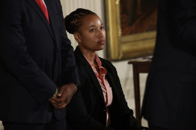 WASHINGTON, DC - JULY 27:  U.S. Capitol Police officer Crystal Griner listens as U.S. President Donald Trump delivers remarks during an event in the East Room of the White House recognizing the first responders to the June 14 shooting involving Congressman Steve Scalise July 27, 2017 in Washington, DC. Scalise was among four people shot by James Hodgkinson during a congressional baseball team practice.  (Photo by Win McNamee/Getty Images)