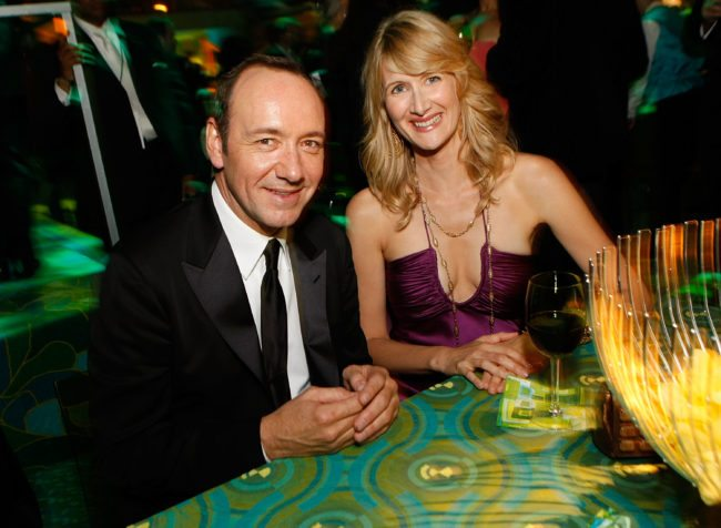 WEST HOLLYWOOD, CA - SEPTEMBER 21:  Actor Kevin Spacey (L) and actress Laura Dern attend the HBO EMMY Party at the Plaza at the Pacific Design Center on September 21, 2008 in West Hollywood, California.  (Photo by Michael Buckner/Getty Images for Media Placement)