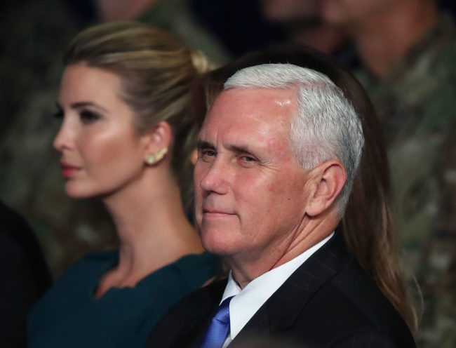 ARLINGTON, VA - AUGUST 21: U.S. Vice President Mike Pense sits with Ivanka Trump as President Donald Trump delivers remarks on AmericaN involvement in Afghanistan at the Fort Myer military base on August 21, 2017 in Arlington, Virginia. Trump was expected to announce a modest increase in troop levels in Afghanistan, the result of a growing concern by the Pentagon over setbacks on the battlefield for the Afghan military against Taliban and al-Qaeda forces. (Photo by Mark Wilson/Getty Images)