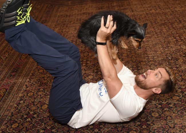 LOS ANGELES, CA - AUGUST 23:  Lance Bass with his dog Dale at Natural Balance Pet Foods announce new formula with Lance Bass and Downward Dogs - Literally - at The DEN Meditation on August 23, 2017 in Los Angeles, California.  (Photo by Michael Kovac/Getty Images for Natural Balance)