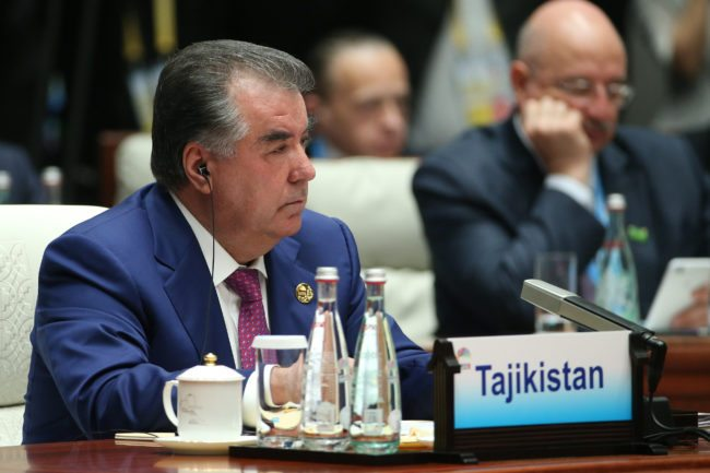 Tajikistan's President Emomali Rakhmon attends the Dialogue of Emerging Market and Developing Countries on the sidelines of the 2017 BRICS Summit in Xiamen, southeastern China's Fujian Province on September 5, 2017. Xi opened the annual summit of BRICS leaders that already has been upstaged by North Korea's latest nuclear weapons provocation. / AFP PHOTO / POOL / WU HONG        (Photo credit should read WU HONG/AFP/Getty Images)