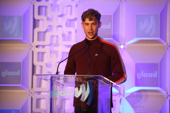 SAN FRANCISCO, CA - SEPTEMBER 08: Actor Tommy Dorfman speaks onstage during the GLAAD Rising Stars Gala luncheon at The InterContinental San Francisco on September 8, 2017 in San Francisco, California. (Photo by Kelly Sullivan/Getty Images for GLAAD)