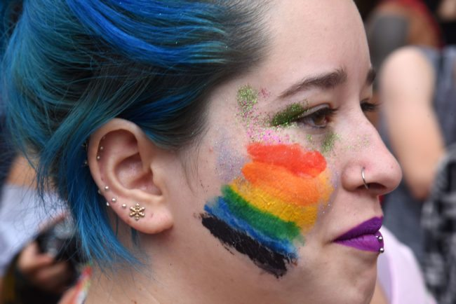 An LGBT activist marches in a parade demanding equal rights, on September 30, 2017 in Asuncion. / AFP PHOTO / NORBERTO DUARTE        (Photo credit should read NORBERTO DUARTE/AFP/Getty Images)