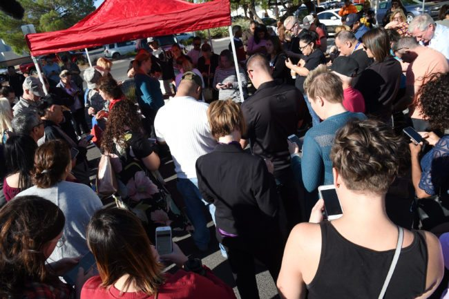 LAS VEGAS, NV - OCTOBER 02: A large group of people gather to donate blood at a special United Blood Services drive at a University Medical Center facility to help victims of a mass shooting on October 2, 2017 in Las Vegas, Nevada. The gunman, identified as Stephen Paddock, 64, of Mesquite, Nevada, allegedly opened fire from a room on the 32nd floor of the Mandalay Bay Resort and Casino on the music festival, leaving at least 58 people dead and over 500 injured. According to reports, Paddock killed himself at the scene. (Photo by Ethan Miller/Getty Images)