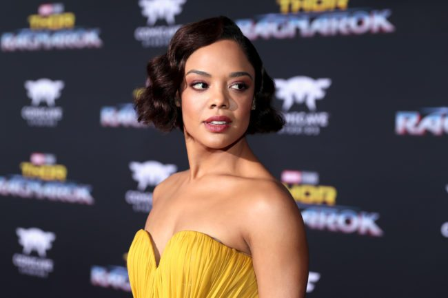 "HOLLYWOOD, CA - OCTOBER 10:  Actor Tessa Thompson at The World Premiere of Marvel Studios' ""Thor: Ragnarok"" at the El Capitan Theatre on October 10, 2017 in Hollywood, California.  (Photo by Rich Polk/Getty Images for Disney)"