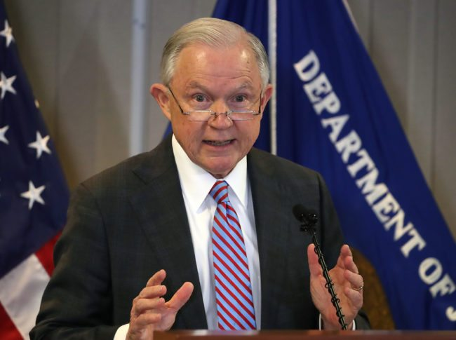 "FALLS CHURCH, VA - OCTOBER 12: Attorney General Jeff Sessions delivers a speech titled ""the crisis facing our asylum system."" at the Executive Office for Immigration Review, on October 12, 2017 in Falls Church, Virginia. (Photo by Mark Wilson/Getty Images)"