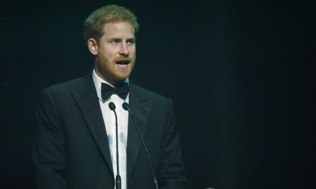 LONDON, ENGLAND - OCTOBER 12: Prince Harry talks after receiving a posthumous Attitude Legacy Award on behalf of his mother Diana, Princess of Wales, at the Attitude Awards on October 12, 2017 in London, England.  Attitude Magazine is awarding the prize to the late Princess Diana in honour of her significant work in drawing attention to HIV/AIDS. (Photo by Frank Augstein - WPA Pool/Getty Images)