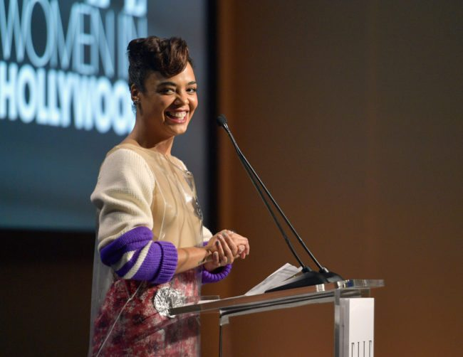 LOS ANGELES, CA - OCTOBER 16:  Honoree Tessa Thompson accepts award onstage at ELLE's 24th Annual Women in Hollywood Celebration presented by L'Oreal Paris, Real Is Rare, Real Is A Diamond and CALVIN KLEIN at Four Seasons Hotel Los Angeles at Beverly Hills on October 16, 2017 in Los Angeles, California.  (Photo by Matt Winkelmeyer/Getty Images for ELLE)