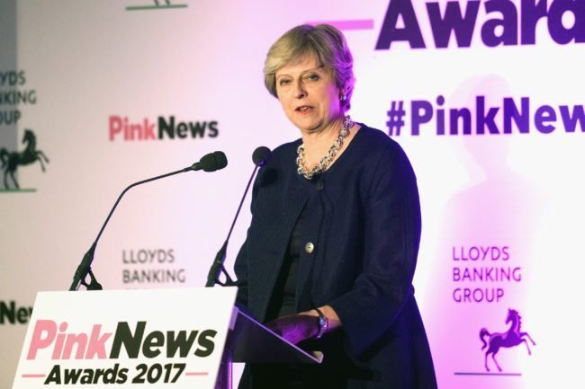 Theresa May at the PinkNews Awards 2017