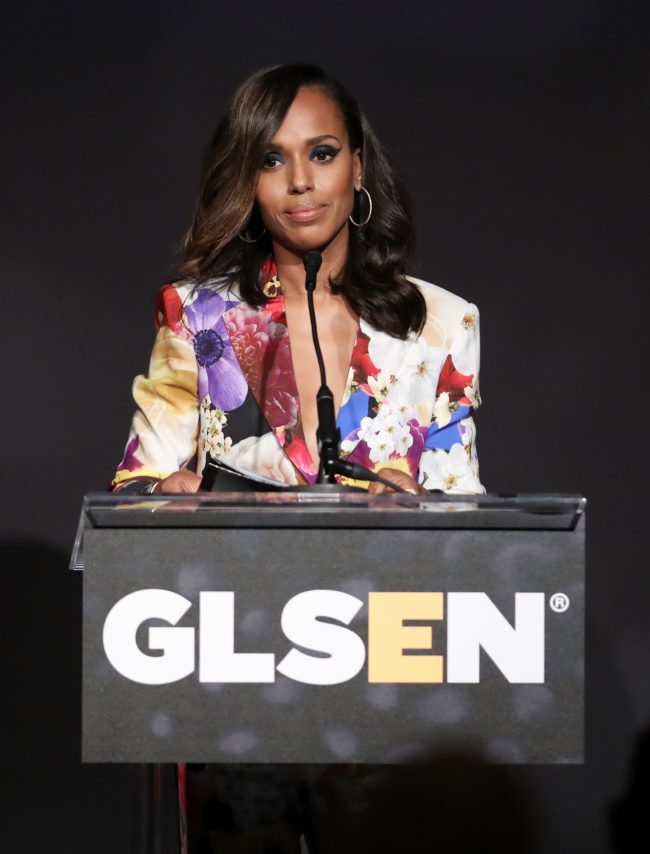 LOS ANGELES, CA - OCTOBER 20:  Honoree Kerry Washington accepts the Inspiration Award onstage during the 2017 GLSEN Respect Awards at the Beverly Wilshire Hotel on October 20, 2017 in Los Angeles, California.  (Photo by Rich Polk/Getty Images for GLSEN)