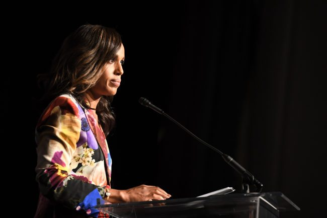 LOS ANGELES, CA - OCTOBER 20:  Honoree Kerry Washington accepts the Inspiration Award onstage during the 2017 GLSEN Respect Awards at the Beverly Wilshire Hotel on October 20, 2017 in Los Angeles, California.  (Photo by Emma McIntyre/Getty Images for GLSEN)