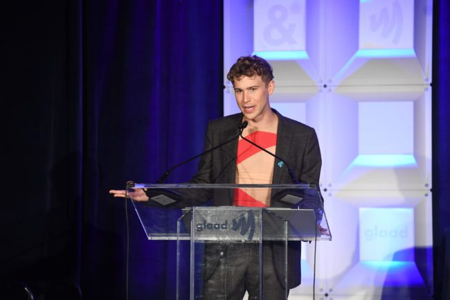 ATLANTA, GA - OCTOBER 25: Tommy Dorfman, star of Netflix's 13 Reasons Why, accepting his award at the GLAAD Gala Atlanta, in partnership with Ketel One Vodka on October 25, 2017 in Atlanta, Georgia. (Photo by Paras Griffin/Getty Images for GLAAD)