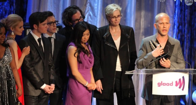 Ryan Murphy and the cast of Glee at the GLAAD Awards (Photo by Angela Weiss/Getty Images)