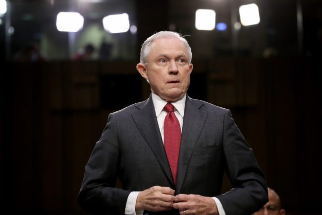 WASHINGTON, DC - JUNE 13: U.S. Attorney General Jeff Sessions arrives to testify before the Senate Intelligence Committee on Capitol Hill June 13, 2017 in Washington, DC. Sessions recused himself from the Russia investigation and he was later discovered to have had contact with the Russian ambassador last year despite testifying to the contrary during his confirmation hearing. (Photo by Win McNamee/Getty Images)