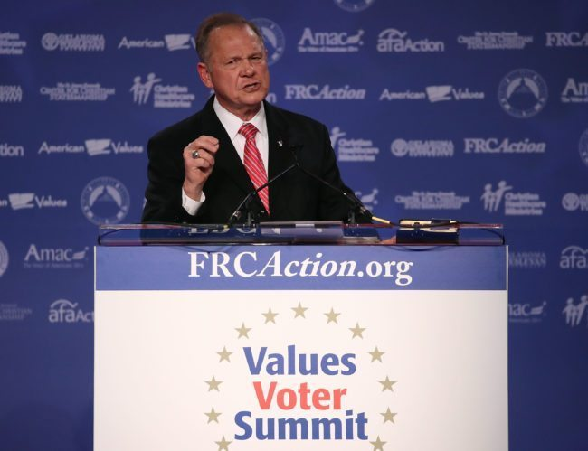 WASHINGTON, DC - OCTOBER 13: Roy Moore, GOP Senate candidate and former chief justice on the Alabama Supreme Court speaks during the annual Family Research Council's Values Voter Summit at the Omni Shorham Hotel on October 13, 2017 in Washington, DC.  (Photo by Mark Wilson/Getty Images)