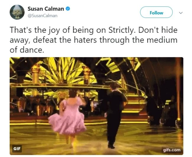 Susan Calman shows the trolls her heels (Twitter)