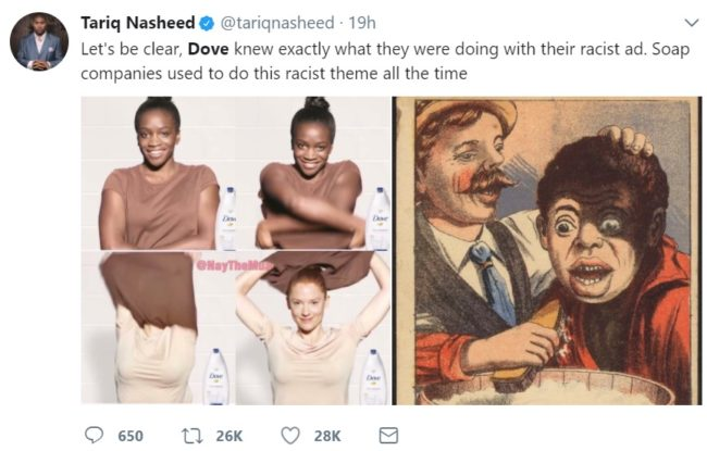 Comparing Dove to old racist soap ads