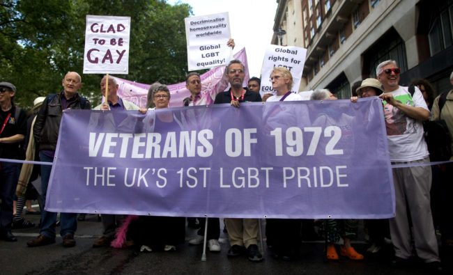 Members of the Gay and Lesbian community parade through London to celebrate the World Pride Festival on July 7, 2012. AFP PHOTO/ANDREW COWIE        (Photo credit should read Andrew Cowie/AFP/GettyImages)