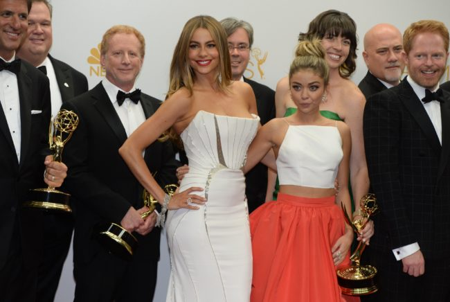 """Actresses Sof?a Vergara (L) and Sarah Hyland (R) pose in the press room after winning the Outstanding Comedy Series Award for """"Modern Family"""" during the 66th Emmy Awards, August 25, 2014 at the Nokia Theatre in downtown Los Angeles.   AFP PHOTO / Mark Ralston        (Photo credit should read MARK RALSTON/AFP/Getty Images)"""
