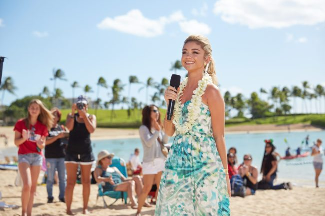 KO OLINA, HI - NOVEMBER 30:  In this handout photo provided by Disney Parks,  'Modern Family' star Sarah Hyland is photographed at Aulani, a Disney Resort & Spa, during production of 'Disney Parks Frozen Christmas Celebration on November 30, 2014 on the island of Oahu in Hawai'i.' In addition to Disney friends and holiday characters, the star-studded television special, which airs Christmas Day on ABC, features performances by some of today's top musical talents at Aulani, Disneyland Resort in California, and Walt Disney World Resort in Florida. (Photo by David Murphey/Disney Parks via Getty Images)