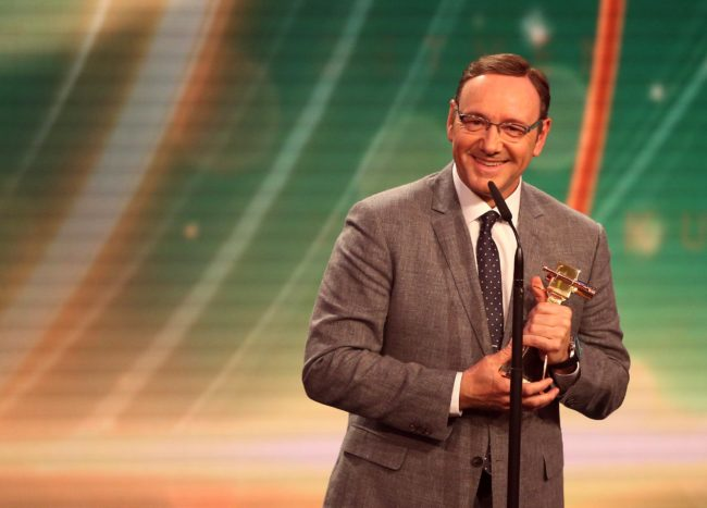 US actor Kevin Spacey reacts after being awarded the Best International actor at the annual German film and television award ceremony Golden Camera ( Goldene Kamera ) in Hamburg, northern Germany, on February 27, 2015. AFP PHOTO / POOL / CHRISTIAN CHARISIUS (Photo credit should read CHRISTIAN CHARISIUS/AFP/Getty Images)