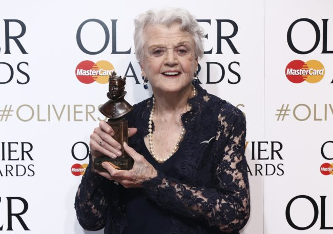 British-American actress Angela Lansbury poses with the award for best actress in a supporting role for her work on play 'Blithe Spirit' during the Lawrence Olivier Awards for theatre at the Royal Opera House in central London on April 12, 2015.   AFP PHOTO / JUSTIN TALLIS        (Photo credit should read JUSTIN TALLIS/AFP/Getty Images)