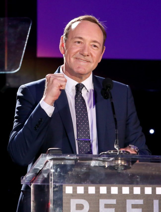 "HOLLYWOOD, CA - APRIL 25: Honoree Kevin Spacey speaks onstage during the 4th Annual ""Reel Stories, Real Lives"", benefiting the Motion Picture & Television Fund at Milk Studios on April 25, 2015 in Hollywood, California. (Photo by Jesse Grant/Getty Images for Motion Picture & Television Fund)"