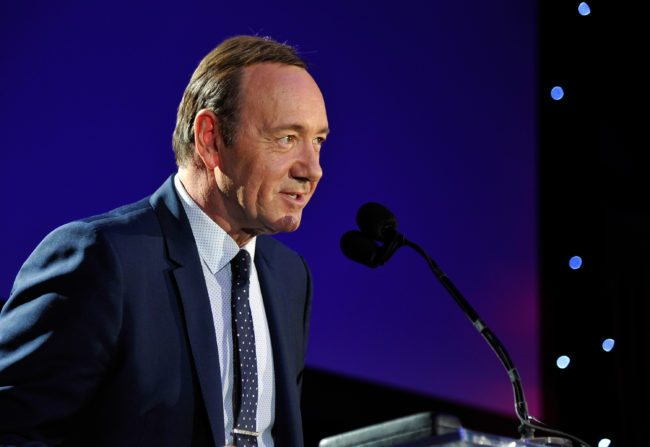 "HOLLYWOOD, CA - APRIL 25: Honoree Kevin Spacey speaks onstage during the 4th Annual ""Reel Stories, Real Lives"", benefiting the Motion Picture & Television Fund at Milk Studios on April 25, 2015 in Hollywood, California. (Photo by John Sciulli/Getty Images for Motion Picture & Television Fund)"