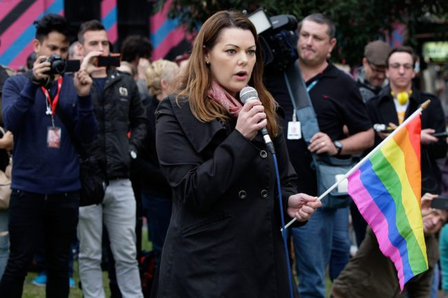 SYDNEY, AUSTRALIA - MAY 31:  Greens Senator Sarah Hanson-Young addresses a large crowd at Taylor Square in support of marriage equality on May 31, 2015 in Sydney, Australia. They are specifically calling on the government to allow for a free vote on marriage equality.  (Photo by Lisa Maree Williams/Getty Images)