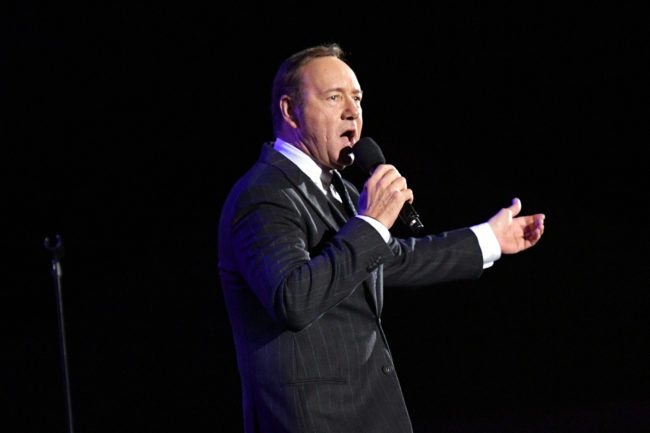 """LOS ANGELES, CA - OCTOBER 01:  Actor Kevin Spacey performs onstage the MPTF 95th anniversary celebration with """"Hollywood's Night Under The Stars"""" at MPTF Wasserman Campus on October 1, 2016 in Los Angeles, California.  (Photo by Mike Windle/Getty Images for MPTF)"""