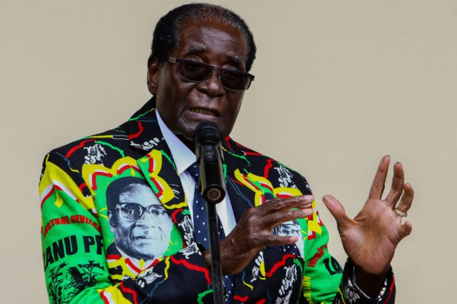Zimbabwe President Robert Mugabe speaks at the party's annual conference on December 17, 2016 in Masvingo. Zimbabwe's ruling ZANU-PF party's congress endorsed on December 17, 2016 President Robert Mugabe as its candidate for the 2018 election, which could extend his 36 years in office. The leader was endorsed by all party structures at the meeting held in Masvingo, 300 kilometres (186 miles) southeast of the capital Harare. / AFP PHOTO / Jekesai NJIKIZANA (Photo credit should read JEKESAI NJIKIZANA/AFP/Getty Images)
