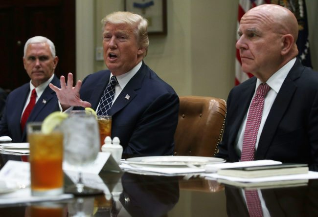WASHINGTON, DC - JULY 18:  U.S. President Donald Trump speaks to members of the media as Vice President Mike Pence (L) and National Security Adviser H.R. McMaster listen during a lunch with armed service members at the Roosevelt Room of the White House July 18, 2017 in Washington, DC. President Trump took questions from the press and discussed the status of the healthcare legislation.  (Photo by Alex Wong/Getty Images)