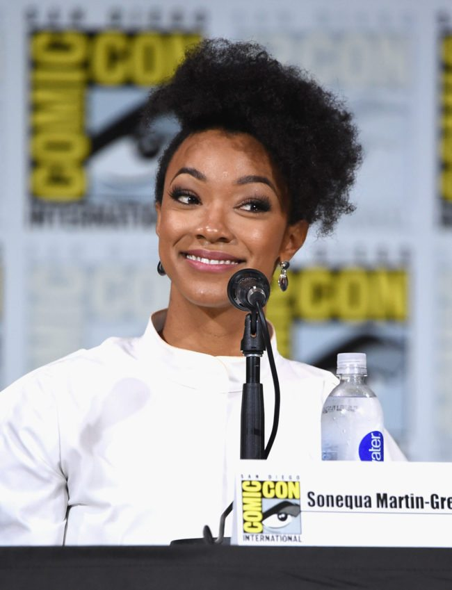 """SAN DIEGO, CA - JULY 22:  Sonequa Martin-Green attends """"Star Trek: Discovery"""" panel during Comic-Con International 2017 at San Diego Convention Center on July 22, 2017 in San Diego, California.  (Photo by Mike Coppola/Getty Images)"""
