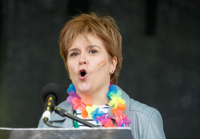 GLASGOW, SCOTLAND - AUGUST 19: First Minister Nicola Sturgeon addresses the assembled crowd at Glasgow Pride on August 19, 2017 in Glasgow, Scotland. The largest festival of LGBTI celebration in Scotland is held every year in Glasgow since 1996. (Photo by Robert Perry/Getty Images)