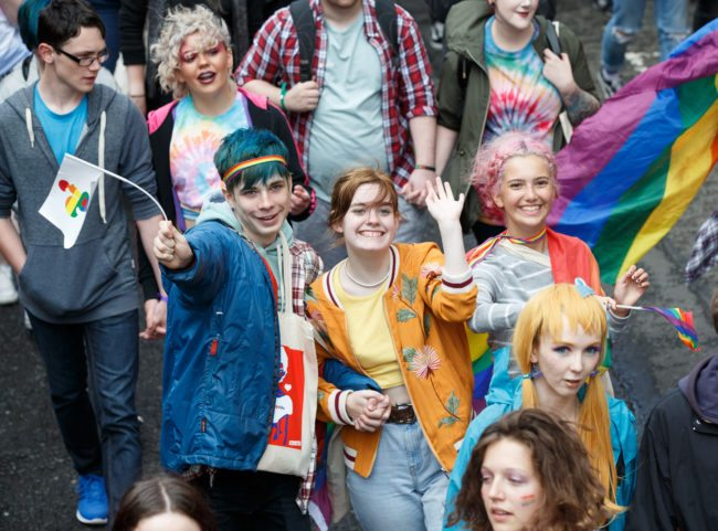 GLASGOW, SCOTLAND - AUGUST 19:Participant pose for photos during the Glasgow Pride march on August 19, 2017 in Glasgow, Scotland. The largest festival of LGBTI celebration in Scotland has been held every year in Glasgow since 1996. (Photo by Robert Perry/Getty Images)