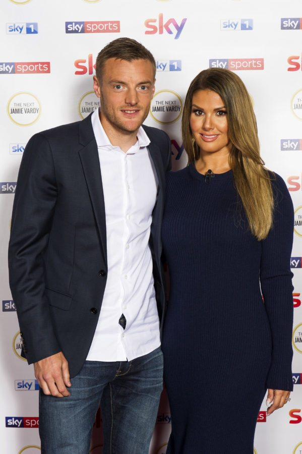 "LONDON, ENGLAND - SEPTEMBER 5:  In this handout image provided by Sky, Footballer Jamie Vardy poses with his wife Rebekah Vardy as they attend the premiere of ""The Next Jamie Vardy"" at Sky Central on September 5, 2107 in London, England. The TV show will air on Sky 1 from September 16, 2017. (Photo by Chris Lobina/Sky via Getty Images)"