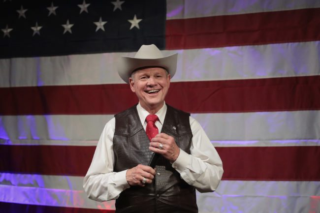 FAIRHOPE, AL - SEPTEMBER 25: Republican candidate for the U.S. Senate in Alabama, Roy Moore, speaks at a campaign rally on September 25, 2017 in Fairhope, Alabama. Moore is running in a primary runoff election against incumbent Luther Strange for the seat vacated when Jeff Sessions was appointed U.S. Attorney General by President Donald Trump. The runoff election is scheduled for September 26. (Photo by Scott Olson/Getty Images)