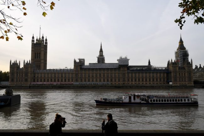 The Houses of Parliament are pictured from the south bank of the River Thames in central London on November 1, 2017. / AFP PHOTO / Chris J Ratcliffe        (Photo credit should read CHRIS J RATCLIFFE/AFP/Getty Images)