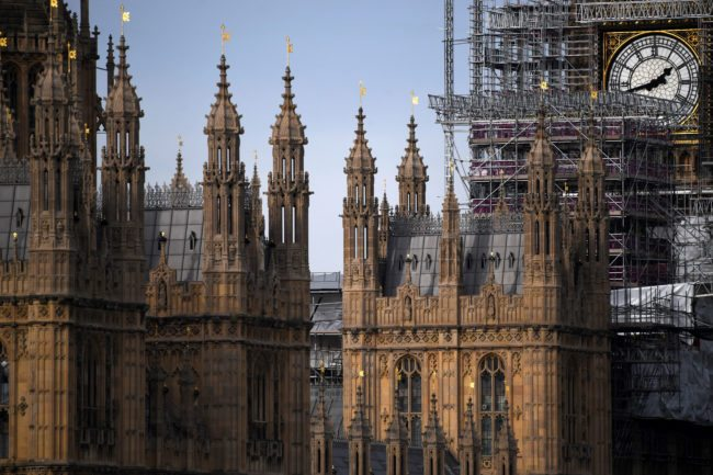 Scaffolding around the Elizabeth Tower, commonly called Big Ben, is seen during ongoing renovations to the Tower and the Houses of Parliament, in central London on November 1, 2017. / AFP PHOTO / Chris J Ratcliffe        (Photo credit should read CHRIS J RATCLIFFE/AFP/Getty Images)
