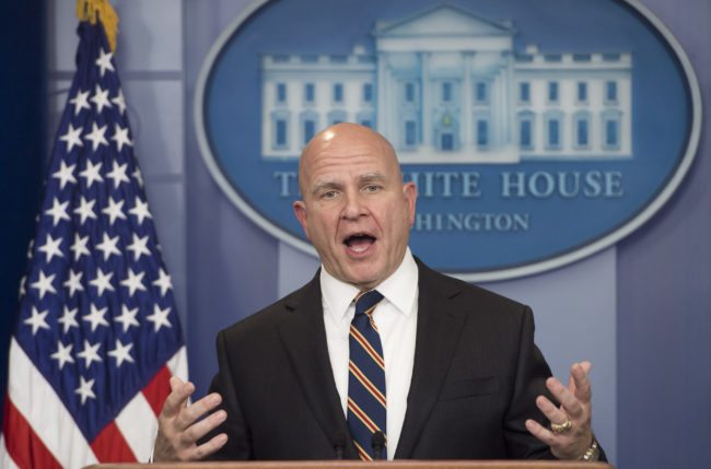 National Security Adviser H. R. McMaster speaks about US President Donald Trump's upcoming trip to Asia during the daily press briefing at the White House in Washington, DC, November 2, 2017. / AFP PHOTO / SAUL LOEB        (Photo credit should read SAUL LOEB/AFP/Getty Images)