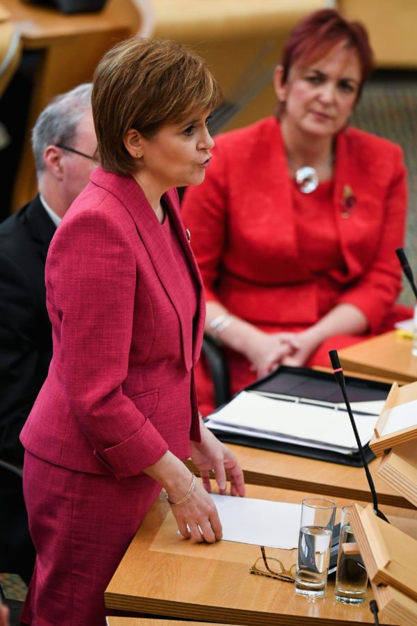 EDINBURGH, SCOTLAND - NOVEMBER 07:  First Minister Nicola Sturgeon, makes a formal apology to gay men at the Scottish Parliament on November 7, 2017 in Edinburgh, Scotland. The statement coincided with a new legislation that will automatically pardon gay and bisexual men convicted under historical laws.  (Photo by Jeff J Mitchell/Getty Images)