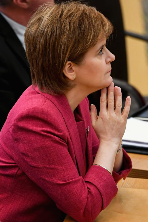 EDINBURGH, SCOTLAND - NOVEMBER 07:  First Minister Nicola Sturgeon, prepares to make a formal apology to gay men at the Scottish Parliament on November 7, 2017 in Edinburgh, Scotland. The statement coincided with a new legislation that will automatically pardon gay and bisexual men convicted under historical laws.  (Photo by Jeff J Mitchell/Getty Images)