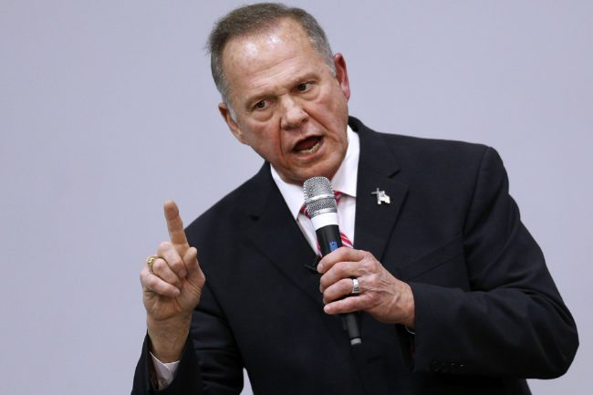 JACKSON, AL - NOVEMBER 14:  Republican candidate for U.S. Senate Judge Roy Moore speaks during a campaign event at the Walker Springs Road Baptist Church on November 14, 2017 in Jackson, Alabama. The embattled candidate has been accused of sexual misconduct with underage girls when he was in his 30s.  (Photo by Jonathan Bachman/Getty Images)