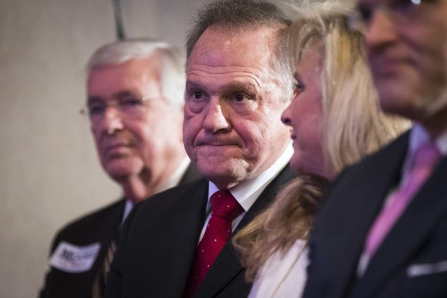 BIRMINGHAM, AL - NOVEMBER 16: Republican candidate for U.S. Senate Judge Roy Moore waits to speak during a news conference with supporters and faith leaders, November 16, 2017 in Birmingham, Alabama. Moore refused to answer questions regarding sexual harassment allegations and pursuing relationships with underage women. (Drew Angerer/Getty Images)