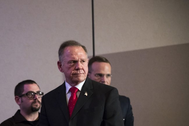 BIRMINGHAM, AL - NOVEMBER 16: Republican candidate for U.S. Senate Judge Roy Moore listens to a question during a news conference with supporters and faith leaders, November 16, 2017 in Birmingham, Alabama. Moore refused to answer questions regarding sexual harassment allegations and pursuing relationships with underage women. (Drew Angerer/Getty Images)