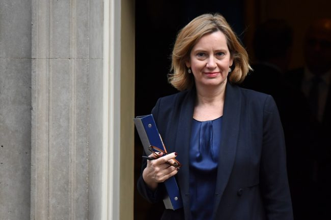 Britain's Home Secretary Amber Rudd leaves 10 Downing Street after a pre-budget meeting of the cabinet in London, on November 22, 2017.  Britain's Chancellor of the Exchequer Philip Hammond will present the government's annual Autumn budget to Parliament later on November 22. / AFP PHOTO / Ben STANSALL        (Photo credit should read BEN STANSALL/AFP/Getty Images)